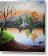 Church By The Lake Metal Print
