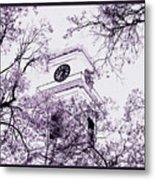 Church Clock In Autumn Metal Print