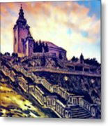 Church Dominant With Decorative Historical Staircase, Graphic Work From Painting. Metal Print