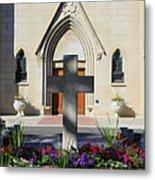 Church Entrance Cross Metal Print