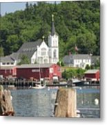 Church In Boothbay Metal Print