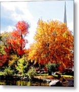 Church In The Distance In Autumn Metal Print