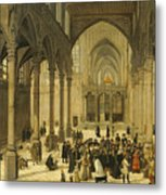 Church Interior With Christ Preaching To A Congregation, 1570 Metal Print