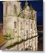 Church Of Saint Lawrence By Night In Porto Metal Print