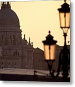 Church Of Santa Maria Della Salute With Lamp Post Metal Print