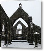 Church Of St Thomas A Becket In Heptonstall In Falling Snow Metal Print