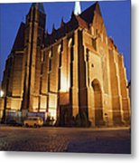Church Of The Holy Cross By Night In Wroclaw Metal Print
