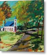 Church On The Bend Landscape Metal Print by John Williams