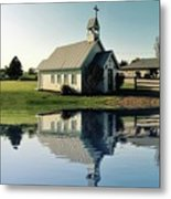 Church Reflection Metal Print