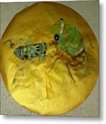 Cicada On Gold Metal Print