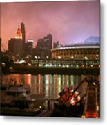 Red Sunset Sky In Cincinnati Ohio Metal Print
