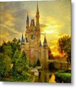 Cinderella Castle - Monet Style Metal Print