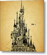 Cinderella Castle Patent Metal Print
