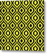 Circle And Oval Ikat In Black N05-p0100 Metal Print