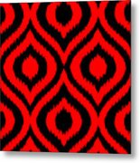 Circle And Oval Ikat In Black T02-p0100 Metal Print