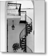 Circular Staircase In Black And White Metal Print