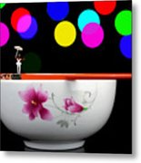 Circus Balance Game On Chopsticks Metal Print
