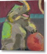 Circus Elephant With Ball Metal Print