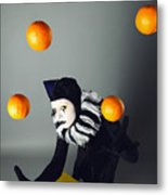 Circus Fashion Mime Juggles With Five Oranges. Photo. Metal Print by Kireev Art