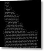 Cities And Towns In Idaho White Metal Print