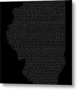 Cities And Towns In Illinois White Metal Print