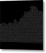 Cities And Towns In Kentucky White Metal Print