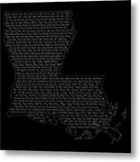 Cities And Towns In Louisiana White Metal Print