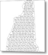 Cities And Towns In New Hampshire Black Metal Print