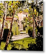 Citrus Courtyard Metal Print
