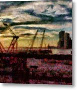 City - Ny - Overlooking The Hudson Metal Print
