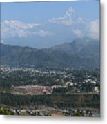 City And Annapurna  View  Metal Print by Atul Daimari