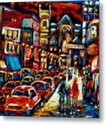 City At Night Downtown Montreal Metal Print