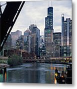 City At The Waterfront, Chicago River Metal Print