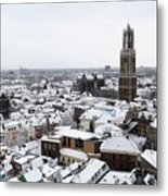 City Centre Of Utrecht With The Dom Tower In Winter Metal Print