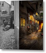 City - Germany - Alley - Coming Home Late 1904 - Side By Side Metal Print