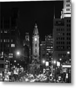 City Hall - Black And White At Night Metal Print