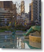 City Hall Reflecting In Swann Fountain Metal Print