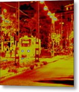 City In Red Metal Print