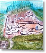 City In The Wall Metal Print