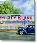 City Island Billboard Metal Print by Marguerite Chadwick-Juner