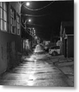 City Lane At Night Metal Print