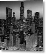 City Light Chicago B W Metal Print
