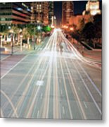 City Light Trails On Street In Downtown Metal Print by Eric Lo