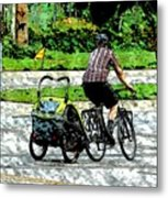 City Man On A Bike Metal Print