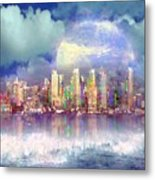City Moon Metal Print