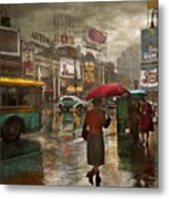City - Ny - Times Square On A Rainy Day 1943 Metal Print