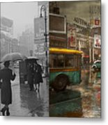 City - Ny - Times Square On A Rainy Day 1943 Side By Side Metal Print