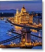 City Of Budapest At Twilight Metal Print