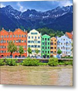 City Of Innsbruck Colorful Inn River Waterfront Panorama Metal Print