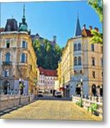 City Of Ljubljana View From Tromostovje Bridge Metal Print